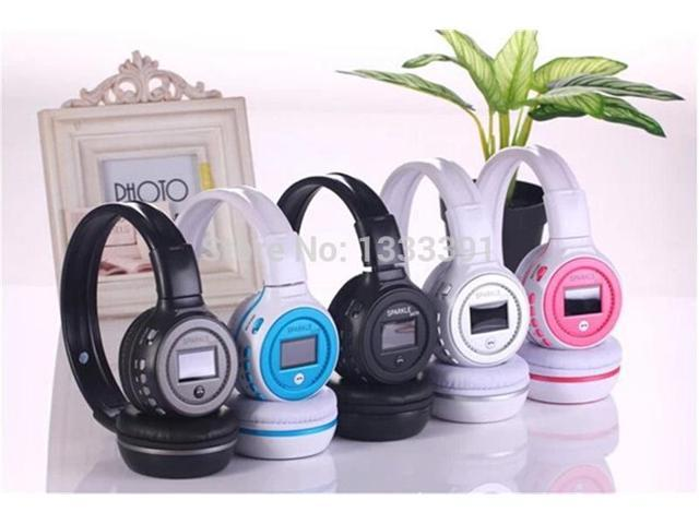LCD Wireless Stereo Bluetooth 3.0 Headphone LED Headset Handfree Rechargeable With MIC TF Card Slot FM Radio For Mobilephone