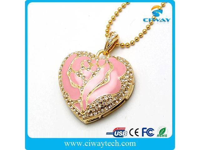 hot selling jewelry necklace waterproof heart usb flash drives 32gb 16gb 8gb