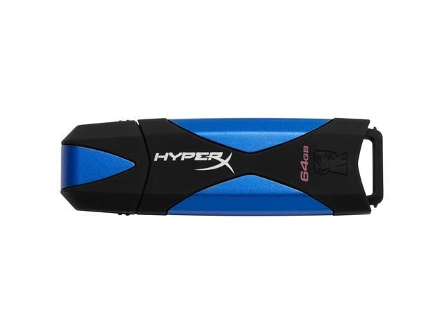 Kingston DataTraveler HyperX 64GB 3.0 Flash Drive - Blue, Black