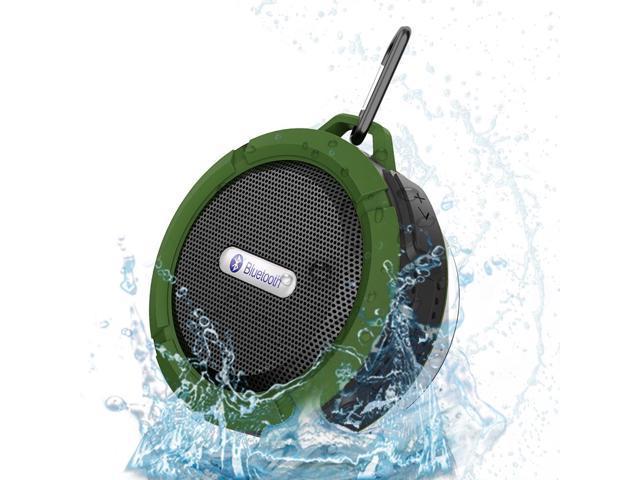 NEK Tech Bluetooth 3.0 5W Waterproof Speaker, Suction Cup, Mic, Hands-Free Speakerphone – Army Green