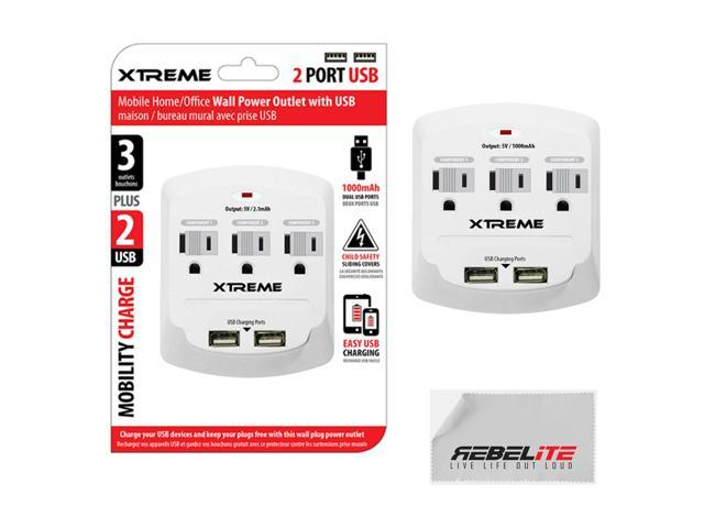 3 Outlet Wall Mount Pwr w/ Dual USB Ports for iPhone 4, 4S, 5, 5C, 5S, 6, 6 PLUS-White