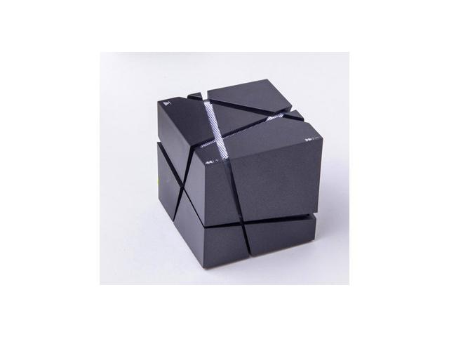 New design cube shape mini portable wireless bluetooth speaker with FM AUX LED light mic support Hands-free[Black]