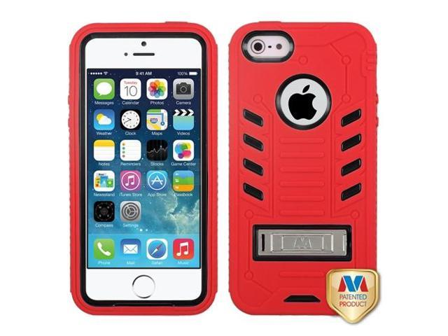 Apple iPhone 5S/5 Black/Red TUFF eNUFF Hybrid Case Cover Metal Stand