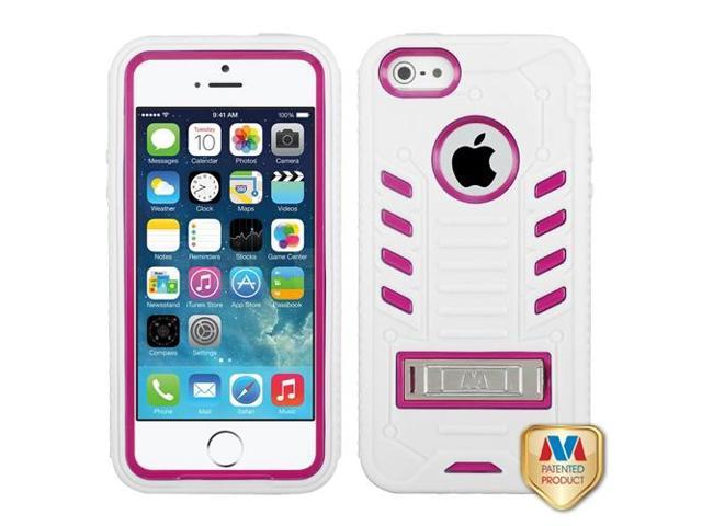 Apple iPhone 5S/5 Hot Pink/White TUFF eNUFF Hybrid Case Cover Metal Stand