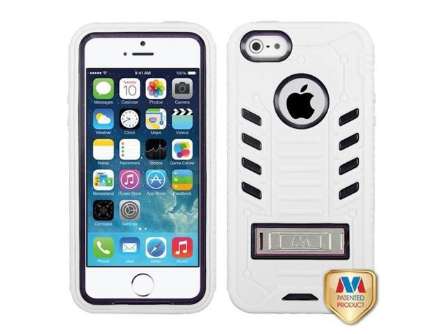 Apple iPhone 5S/5 Black/White TUFF eNUFF Hybrid Case Cover Metal Stand
