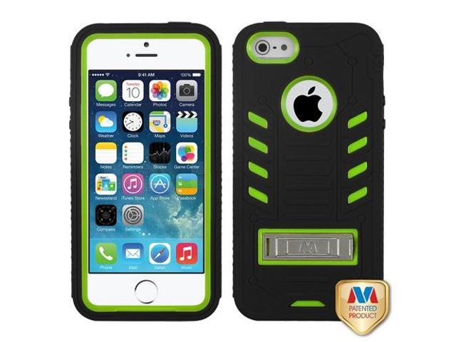 Apple iPhone 5S/5 Pearl Green/Black TUFF eNUFF Hybrid Case Cover Metal Stand