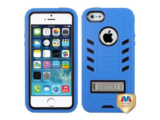 Apple iPhone 5S/5 Black/Dark Blue TUFF eNUFF Hybrid Case Cover Metal Stand
