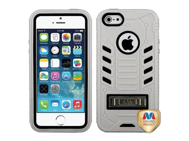 Apple iPhone 5S/5 Natural Black/ TUFF eNUFF Hybrid Case Cover Metal Stand