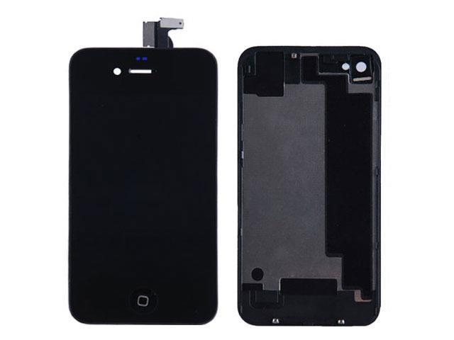 LCD Display With Compatible Touch Screen Digitizer Assembly Replacement & Back Cover & Home Button For iPhone 4S - Black