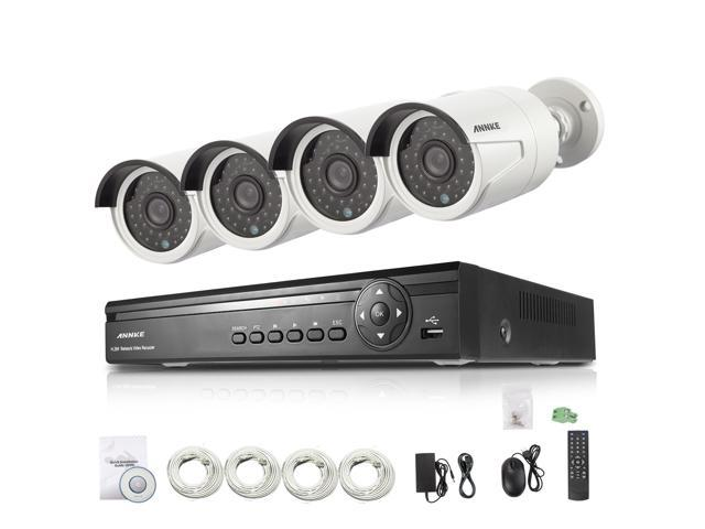 ANNKE 4CH 720P PoE NVR HD 1280*720P CCTV Camera System w/ 4 Weatherproof Superior Night Vision HD 720P Security Cameras System (HDMI Output, 1 MP ...