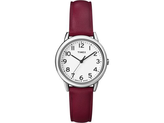Timex Women's | Silver-Tone Case & Red Leather Strap | Elevated Classics T2N952