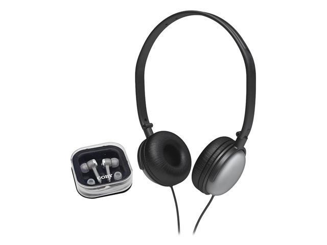 Coby CV-140SL DJ Style On-Ear Headphone & Earbud Headphones Combo CV140 Silver
