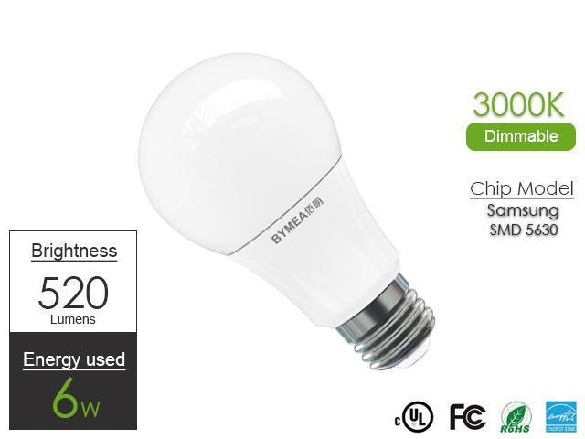 2015 hot sale A19 bulb lighting, E26 base 120V, 6 watts Brightness, 40 watt replacement, 520lm, 3000K warm white led lighting for living ...