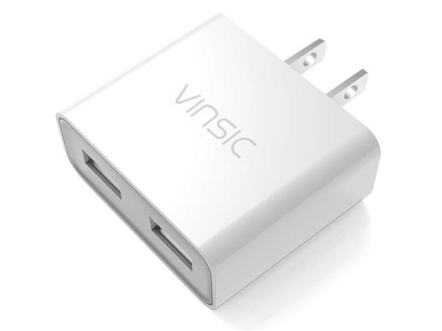 Vinsic 12W Dual-Port USB Travel Charger Adapter, 5V 2.4A for iPhone 6/5S/5/4S iPad iPod, Samsung Galaxy, Cell Phones, Tablets (White)