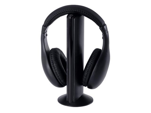 5-in-1 Wireless Headphones w/Microphone Emitter & FM Radio - Listen to Music, Chat Online & Monitor Other Rooms! (Black)