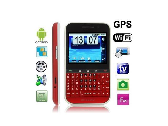 F605 Red, GPS + Android 2.2 Version, QWERTY Keyboard, Analog TV (SECAM/PAL/NTSC), Wifi Bluetooth FM function Touch Screen Mobile Phone, Dual Sim ...