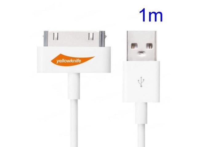 YellowKnife MFi Certified IOS7 1M 30pin USB Sync Charger Round Cord for iPhone 4S 4 iPad 2 3 iPod Touch 3 4 - White