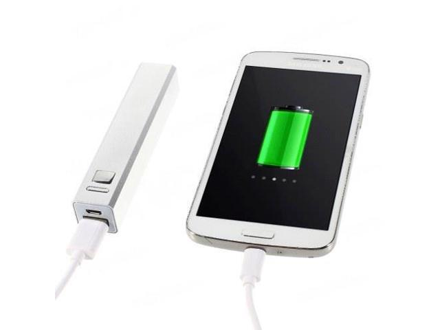 2600mAh Metal Skin Power Bank Battery Charger w/ Flashlight for iPhone iPod Samsung LG Sony - Silver