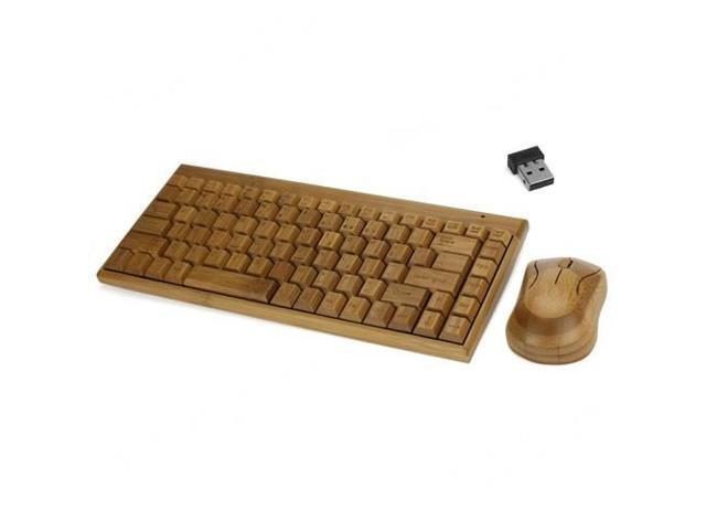 Natural Bamboo Wireless Keyboard & Mouse Set w/ USB Nano Receiver