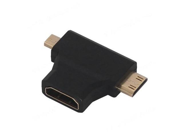 Combo Micro HDMI Male & Mini HDMI Male to HDMI Female 2 in1 Adapter