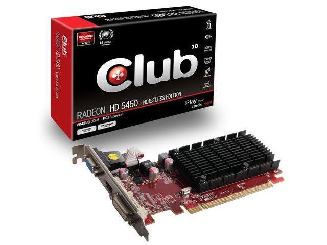 CLUB3D CGAX-5456 AMD Radeon HD 5450 2GB graphics card