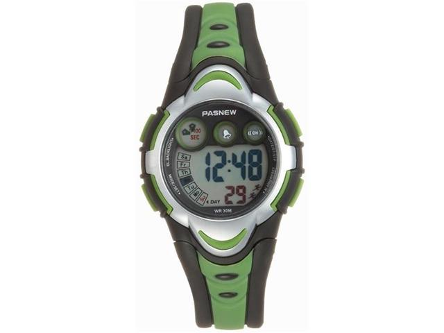 PASNEW PSE-276 Waterproof Children Students Boys Girls LED Digital Sports Watch with Date /Alarm /Stopwatch (Green)