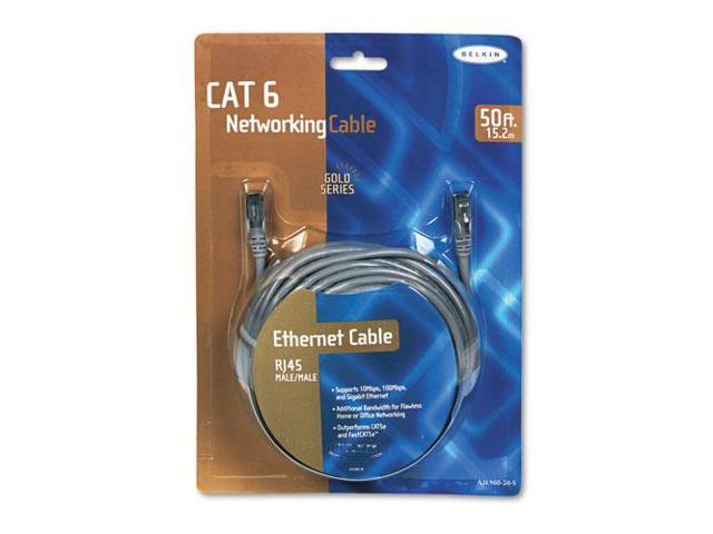 High Performance CAT6 UTP Patch Cable, 50 ft., Gray