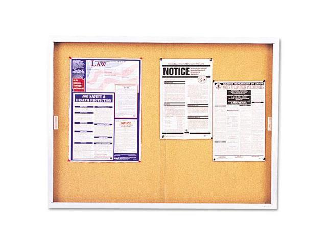 Enclosed Bulletin Board, Cork Over Fiberboard, 72 x 48, Aluminum Frame