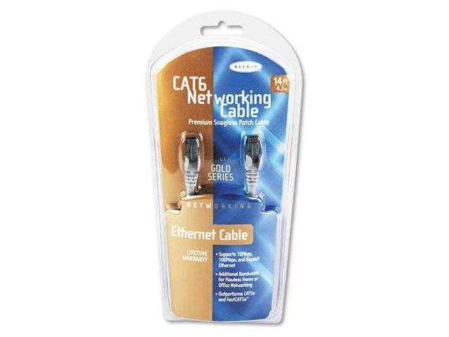 High Performance CAT6 UTP Patch Cable, 14 ft., Gray