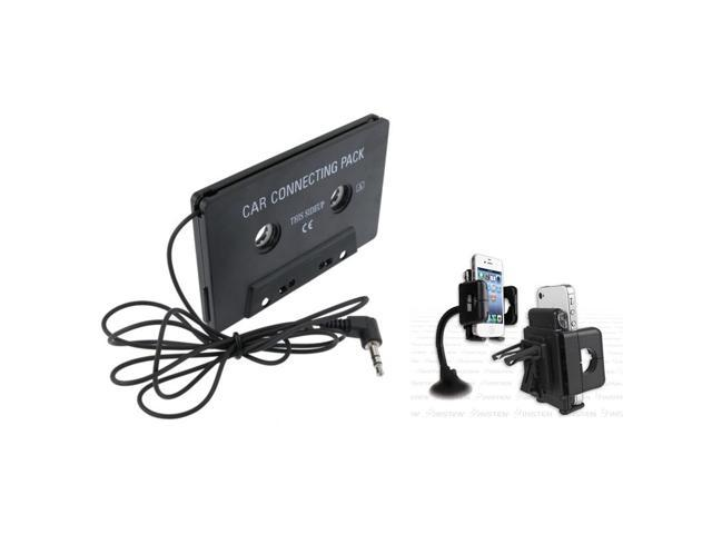 eForCity Black Windshield Phone Holder + Black Universal Car Audio Cassette Adapter For iPhone 5 5G 4 4S 3GS