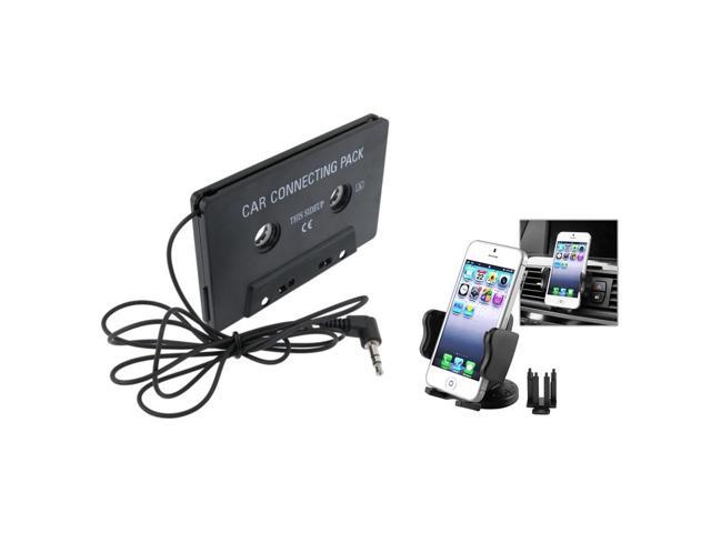 eForCity Phone Holder+Black Car Audio Cassette Adapter For iPhone 3G 3GS 4 4S 5 5G ios6
