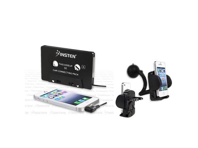 eForCity Black Phone Holder+Cassette Adapter Compatible with HTC myTouch 4G Slide EVO 4G
