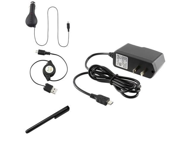 eForCity 3-in-1 Car Charger + USB Cable + Fishbone Wrap + Black Stylus Compatible with Samsung© Galaxy S3 i9300 i9500 S 4 IV i8190