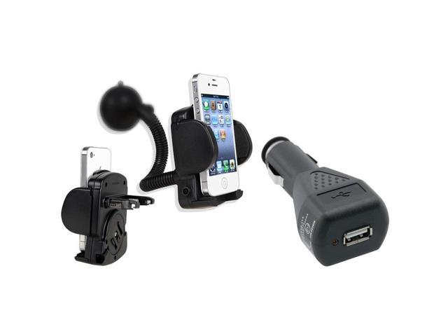 Car Charger + Windshield Mount Compatible With Apple® iPhone 4 4G 3G S