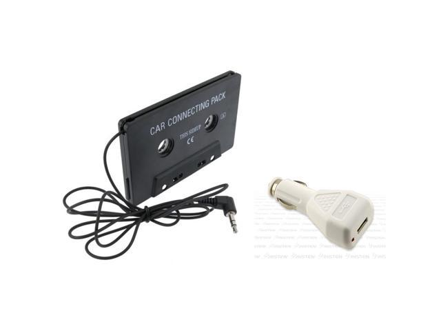 eForCity USB Car Charger Adapter+Black Car Audio Cassette Adapter For iPhone 5/5S/5C 4 4S G 3G 3GS