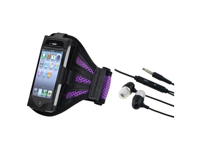 eForCity Black/Purple Armband with FREE Black In-ear (w/on-off) Stereo Headsets Compatible with Apple® iPod touch 4th Generation