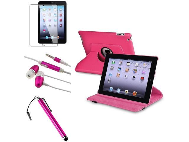 eForCity Hot Pink 360-degree Swivel Leather Case + Pink Touch Screen Stylus + Hot Pink/White Universal 3.5mm In-Ear Stereo Headset w/On-off & Mic ...