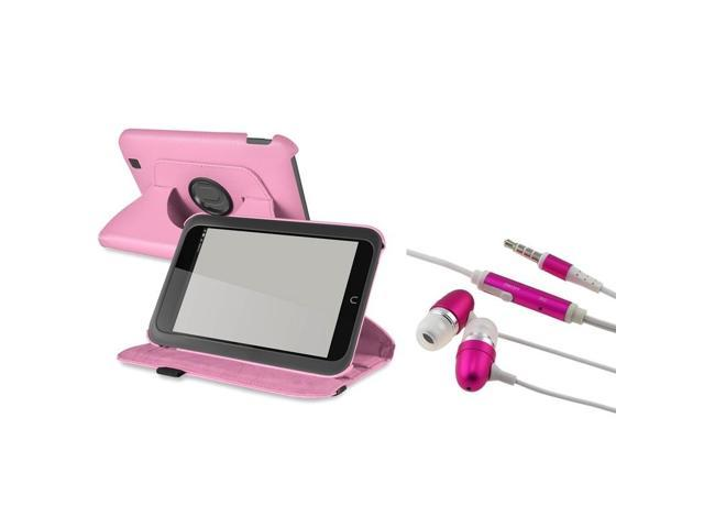 eForCity Light Pink 360 Rotating Leather Case+ Pink In-ear (w/on-off) Stereo Headsets compatible with Barnes & Noble Nook HD