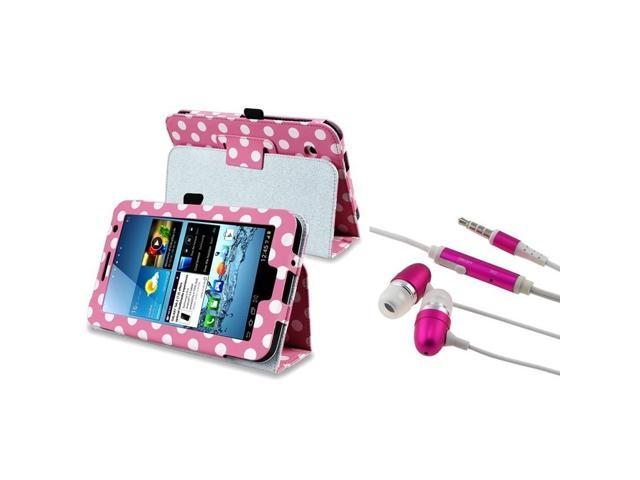 eForCity Pink/ White Polka Leather Case+ Pink In-ear (w/on-off) Stereo Headsets compatible with Samsung© Galaxy Tab 2 7.0/ P3100/ P3110