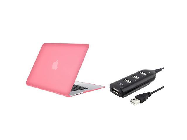 Pink Snap-in Rubber Coated Case + Black USB Hub compatible with Apple MacBook Air 13-inch
