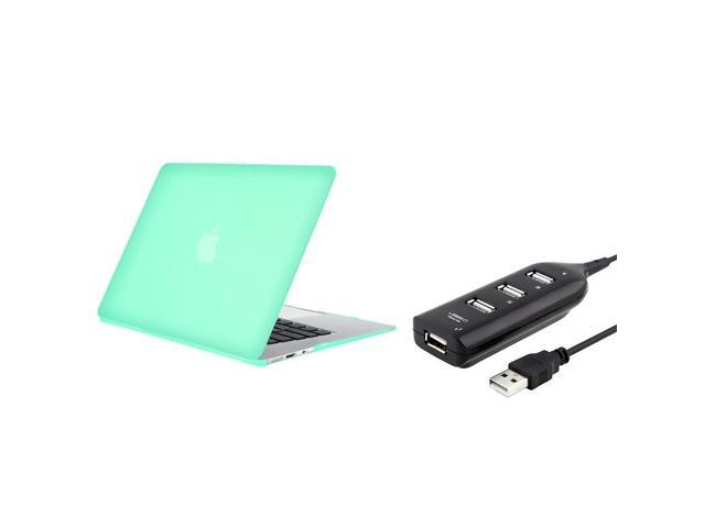 Ocean Green Snap-in Rubber Coated Case and Black USB Hub compatible with Apple MacBook Air 11-inch