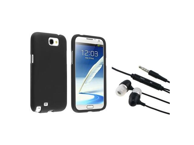 eForCity Black Snap-on Rubber Coated Case + Black In-ear (w/on-off) Stereo Headsets Compatible with Samsung© Galaxy Note II Note 2 N7100