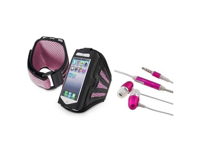 eForCity Black/ Pink ArmBand + Hot Pink In-ear (w/ on-off) Stereo Headsets for Apple iPhone 5 / 5C / 5S / iPod Touch 5th / ...
