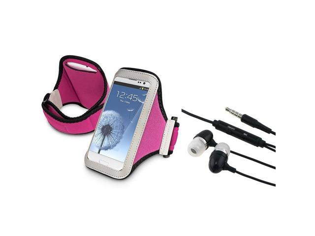 eForCity Black Universal 3.5mm In-Ear Stereo Headset w/On-off & Mic + Hot Pink Armband Bundle Compatible With Samsung© Galaxy SIII/S3