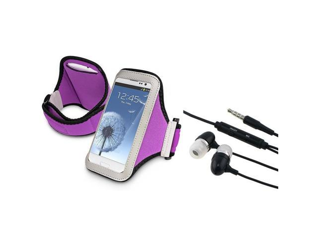 eForCity Black Universal 3.5mm In-Ear Stereo Headset w/On-off & Mic + Purple Armband Bundle Compatible With Samsung© Galaxy SIII/S3