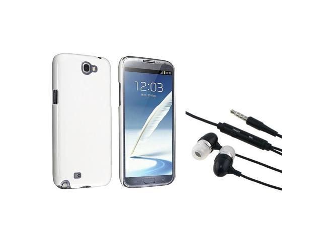 eForCity Black Universal 3.5mm In-Ear Stereo Headset w/On-off & Mic + White Snap-on Case Bundle Compatible With Samsung© Galaxy Note II N7100