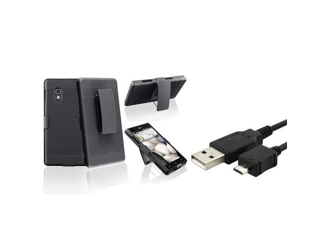 eForCity Black Swivel Holster with Stand Case with 1 Charging Data Cable Compatible with LG Optimus G E970