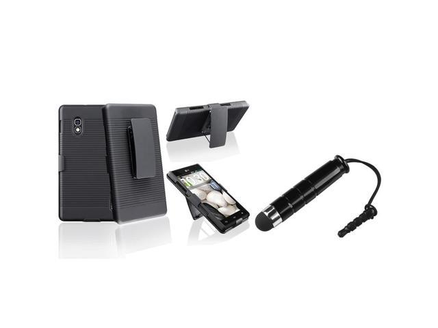 eForCity Black Swivel Holster with Stand Case with FREE Black Stylus Pen Compatible with LG Optimus G E970