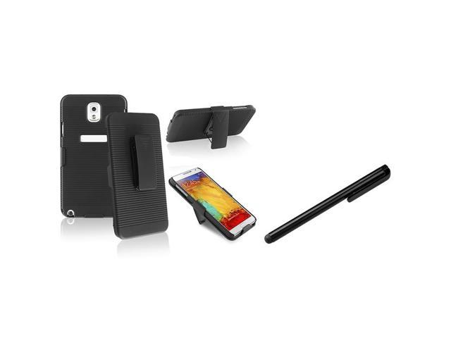eForCity Black Swivel Holster with Stand Case with FREE Black Stylus Pen Compatible with Samsung© N9000 Galaxy Note 3