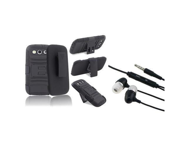 eForCity Black Stand Holster Hybrid Case + In-ear (w/on-off) Stereo Headsets compatible with Samsung©: Galaxy SIII / S3